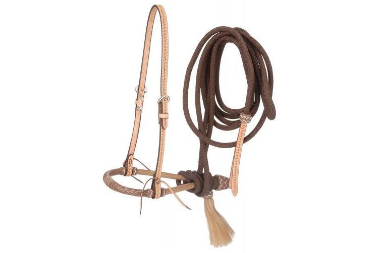 (One Size, Brown) - Tough 1 Bridle Basket Weave Bosal Cord Mecate Leather Popper 45-317B