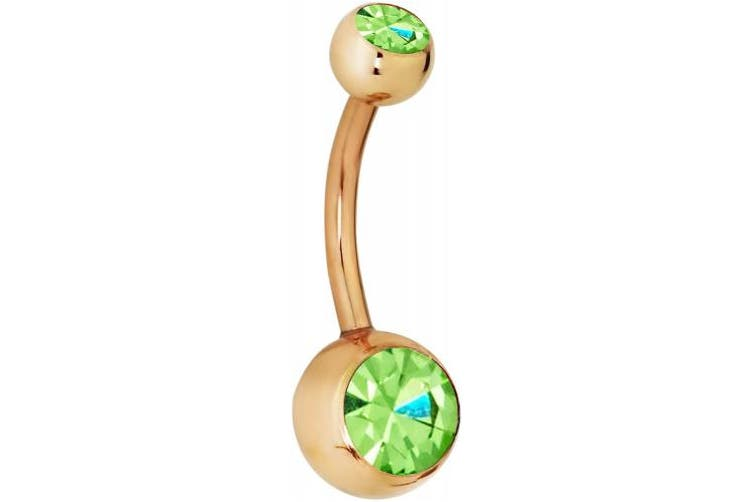 (Green) - 14g Rose Gold IP Plated Surgical Steel Double CZ Crystal Belly Button Ring *Choose Colour*