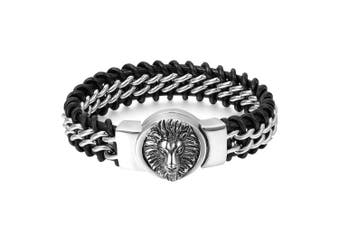 Cupimatch Mens Stainless Steel Biker Lion Head Leather Curb Chain Interwoven Bracelet