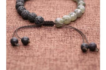 (Labradorite & Lava 8mm) - COAI Mens Womens Buddha Head Prayer Semi Precious Stones Mala Beaded Bracelet