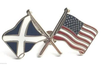 Scotland & USA America Friendship Courtesy Enamel Lapel Pin Badge