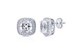 BERRICLE Rhodium Plated Sterling Silver Cushion Cut Cubic Zirconia CZ Halo Stud Earrings