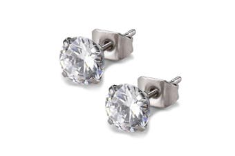 (6mm Stone) - Round Clear Cubic Zirconia Stainless Steel Stud Earring Pierced 3mm-8mm Hypoallergenic Mens Womens