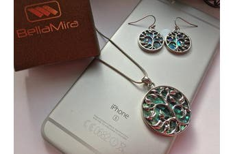 (Tree of Life Set2) - BellaMira Sterling Silver Abalone Mother of Pearl Red Coral TREE OF LIFE Necklace Earrings Jewellery Set (as chosen) Gift Boxed