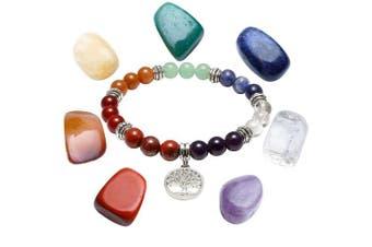 (Set 2) - JOVIVI Irregular Chakra Stones Set and 7 Chakras Healing Balancing Stone Bracelet