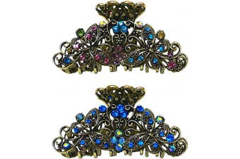 (multi-sapphire) - Set of 2 Metal Crystal Jaw Clips with Butterflies Design in Antique Gold Tone Plating RW86410-6132multi-sapphire