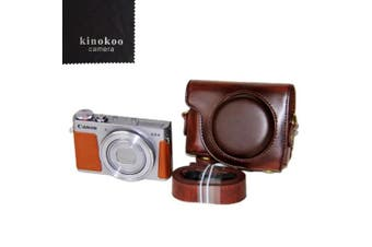 (coffee) - kinokoo Protective Case Cover PU Leather Camera Case Tailored for Canon G9X G9X Mark2 (coffee)