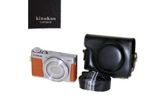 (black) - kinokoo Protective Case Cover PU Leather Camera Case Tailored for Canon G9X G9X Mark2 (black)