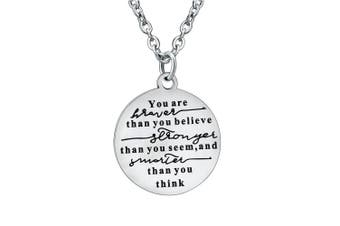 BESPMOSP You Are Braver Than You Believe Jewellery Pendant Necklace Inspirational Gifts For Friend Family
