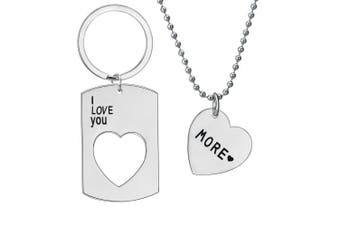 (Necklace And Keychain Set) - I Love You More Pendant Necklace Set / Keychain Necklace Set Jewellery Valentines Day Anniversary Gifts