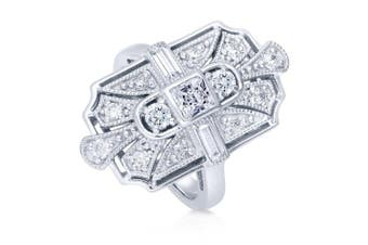 (P) - BERRICLE Rhodium Plated Sterling Silver Cubic Zirconia CZ Art Deco Statement Ring