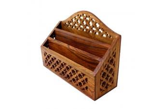 Letter Rack Vintage Desk Wooden Hand Carved Holder Barroon Jali Urban Home