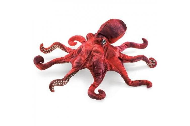 Hand Puppet - Folkmanis - Octopus Red New Animals Soft Doll Plush Toys 2974