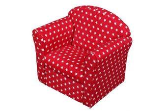 1home Kids Children's Red With White Stars Fabric Tub Chair Armchair Sofa Seat