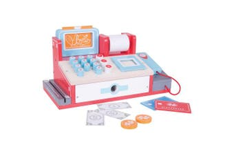 Bigjigs Toys Wooden Shop Till with Scanner, Grocery Checkout Till - Pretend Play and Role Play for Children