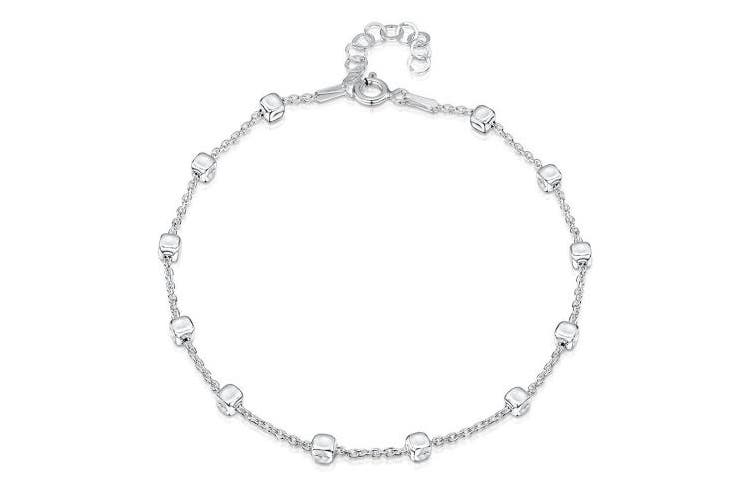 (Trace With Cubes Chain) - Amberta 925 Sterling Silver Adjustable Anklet - Classic Chain Ankle Bracelets - 23cm - 25cm inch - Flexible Fit