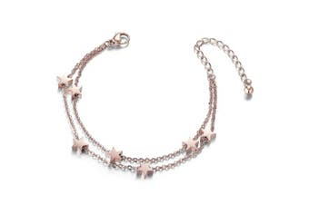 (3-platinum) - SHEGRACE Titanium Steel Double Layered Anklet with Mini Stars Rose Gold for Woman - 24cm long + 8cm extender