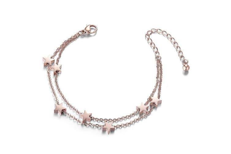 (3-platinum) - SHEGRACE Titanium Steel Double Layered Anklet with Mini Stars Rose Gold for Woman - 24cm long + 8cm extender