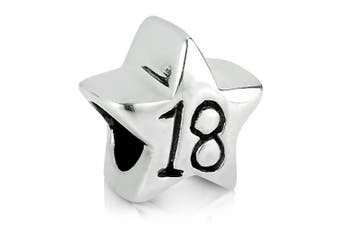 18th Birthday (Years Old) Silver Star Charm Bead 925 Sterling Silver Fits Pandora Bracelets