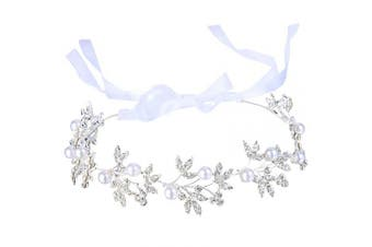 (03.olive Leaf Hair Vine) - Clearine Women's Bohemian Bridal Olive Leaf Romantic Bendable Ribbon Tie Headband Hair Vine Accessory Simulated Pearl Silver-Tone