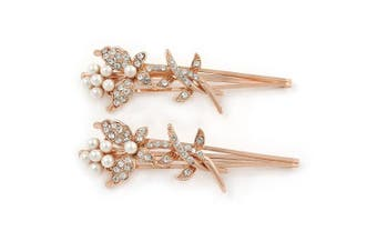 2 Bridal/ Prom Clear Crystal, White Glass Pearl Butterfly Hair Grips/ Slides In Rose Gold Metal - 70mm L