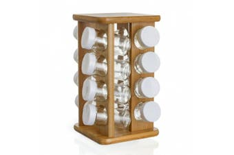 Bamboo Herb And Spice Rack - 16 Glass Pots + Rotating Stand