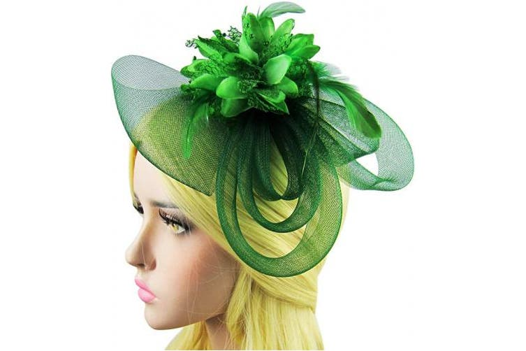 (Green) - HowYouth® Women's Ladies Flower Mesh Flower Fascinator Headband Hair Clip for Wedding Bridal Tea Party Royal Ascot Christmas