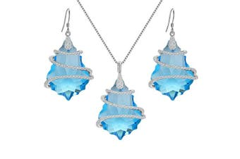 (Blue) - EVER FAITH® 925 Sterling Silver CZ Baroque Inspired Necklace Earrings Set Embellished with Crystals from ®