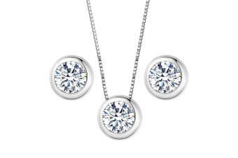 (Silver-Tone) - Clearine Women's 925 Sterling Silver Delicate Elegant Cubic Zirconia Bezel Set Solitaire Pendant Necklace Pierced Earrings Set