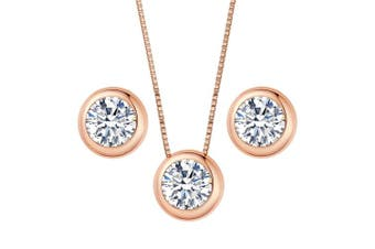 (Rose-Gold-Tone) - Clearine Women's 925 Sterling Silver Delicate Elegant Cubic Zirconia Bezel Set Solitaire Pendant Necklace Pierced Earrings Set