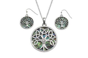 (Abalone Celtic Jewellery Set) - BellaMira Abalone Tree of Life Pendant Necklace or Earrings (as chosen) Natural Paua Shell Silver Plated Yoga Meditation Mystic Healing Jewellery for Girls Women Gift Boxed
