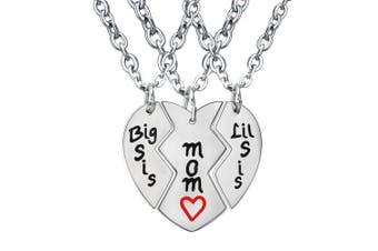BESPMOSP Mother Daughter Necklace Set , Big Sis Lil Sis Sister Mom Jewellery Necklace Set Family Gifts