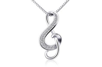 (1) - B.Catcher Silver Necklaces Music Note Pendant Necklace S925 Sterling Silver Women Jewellery