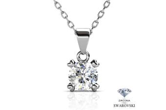 BlingGem White Gold Plated Zirconia Necklace with Exquisite Solitaire Round cut Pendant, Jewellery for Women 46cm