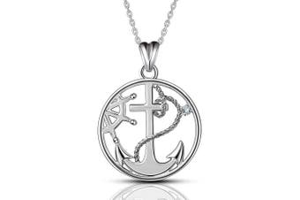 AEONSLOVE S925 Sterling Silver Anchor & Compass Necklace Round Pendant 46cm Chain