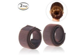 (2pcs brown) - Bysiter Hair Styling Bun Maker DIY Hair Bundles Clip Curler Roller Tools French Twist Donut Bun Magic Hairstyle kits for Women Girls 2 pcs brown (2pcs brown)