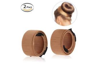 (2pcs light brown) - Bysiter Hair Styling Bun Maker DIY Hair Bundles Clip Curler Roller Tools French Twist Donut Bun Magic Hairstyle kits for Women Girls 2 pcs light brown (2pcs light brown)