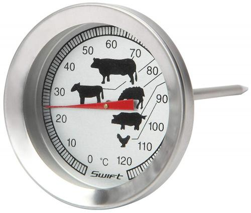 Dexam Stainless Steel Meat Thermometer With Pictures Dexam Stainless Steel Meat Thermometer With Pictures Ref: 17840316Dexam Meat Thermometer with 9cm long probe to ensure meat is cooked thoroughly and correctly. You can either insert the thermometer into the meat to use whilst it is cooking in the oven, or take the meat out once it is cooked and then measure the temperature.