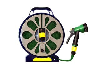 15m Flat Hose And Spray Nozzle With Reel Easy Wind Reel 7 Settings