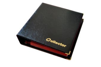 (200 Coins, Black) - Collector Coin Album for 200 MEDIUM sizes coins 50p 50 pence £1 £2 €1 €2 - 10 pages and red dividers (200 Coins, Black)