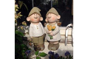 Bill And Beryl Elves Standing Rose, Garden Ornament, Gnome, Garden Fairy, Imp