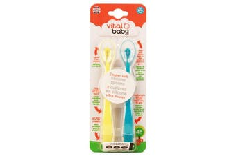 Vital Baby 2 Piece Super Soft Silicone Spoons, Blue & Yellow