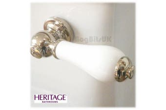 Heritage Gold Plated White Porcelain Vintage Cistern Lever Cpa00