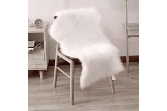 (0.6m x 0.9m, White) - LeeVan Faux Fur Rug Supersoft Plush Fluffy Chair Cover Sheepskin Rug Seat Cover Shaggy Throw Floor Mat Carpet Accent Rugs- 0.6m x 0.9m, Ivory White