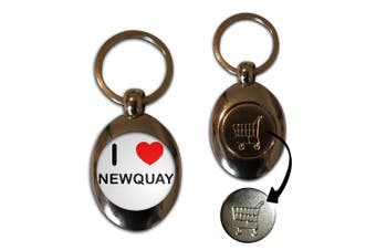 I Love Newquay - Shopping Trolley Coin Key Ring