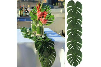 AerWo 48pcs Large Artificial Tropical Palm Leaves, 35cm by 29cm , Hawaiian Luau Party Jungle Beach Theme Decorations for Table Decoration Accessories