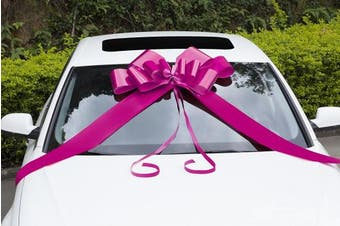 (80cm  1 Pack (X-Large), Pink) - Zoe Deco Big Car Bow (Pink, 80cm , 1 Pack) with 2 Gold Accessory Bows, Giant Presents, Girl Party, Lady Surprise Party, Wedding Reception, Birthday, Christmas Bows for Car, Gift Bow, Car Bow Giant
