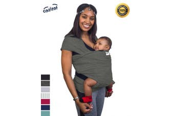 (Slate Grey) - Slate Grey Baby Sling Carrier Wrap by Cozitot | Soft & Stretchy Baby Carrier | Baby Wrap Sling | Small to Plus Size Baby Sling | Nursing Cover | Best Baby Shower Gif