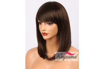 K'ryssma Bob Wig With Bangs - Natural Looking Brown #4 Synthetic Wigs with Highlights #30 Cheap None Lace Short Hair Wigs for Women Full Machine Made 36cm (M03000)
