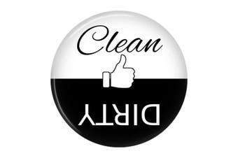 Clean Dirty Dishwasher Magnet Sign Indicator (Black White Thumb)
